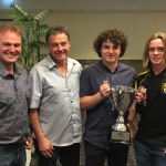 Brad Giri with Warren Bagnall, Kade Bagnall, and Evan Whitty, Grafton Tigers Under 18 Premiers