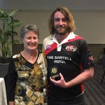 Heather Coutts presents Pat Myles with the Reserves B&F