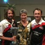 Lachie Draper-Bell & Alex Pearson accept the Reserves Premiership Cup from Heather Coutts